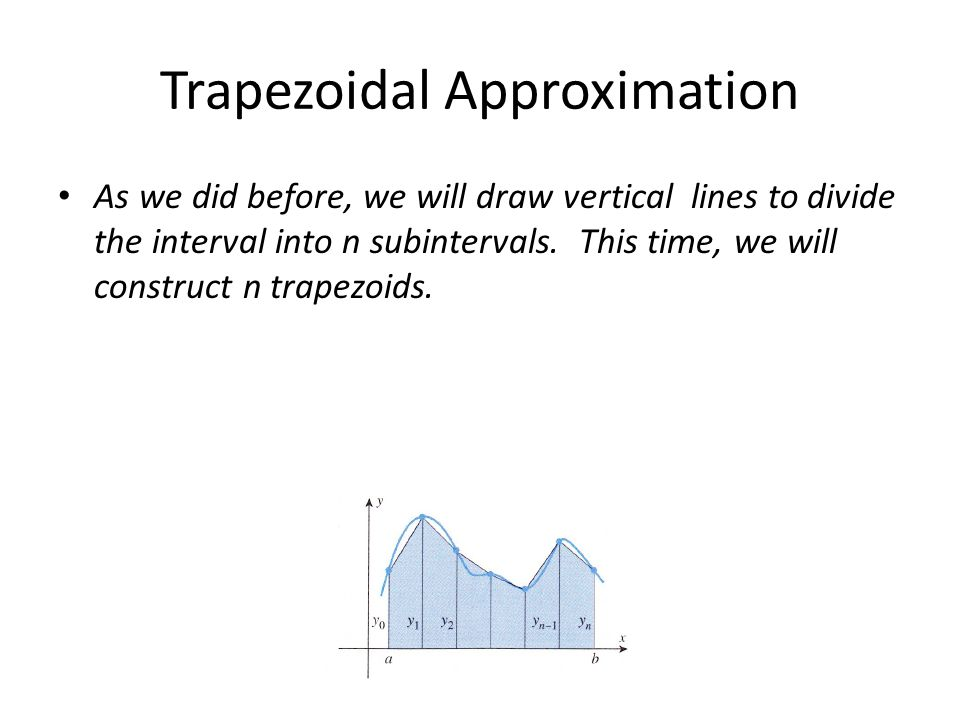 Trapezoidal Approximation As we did before, we will draw vertical lines to divide the interval into n subintervals.
