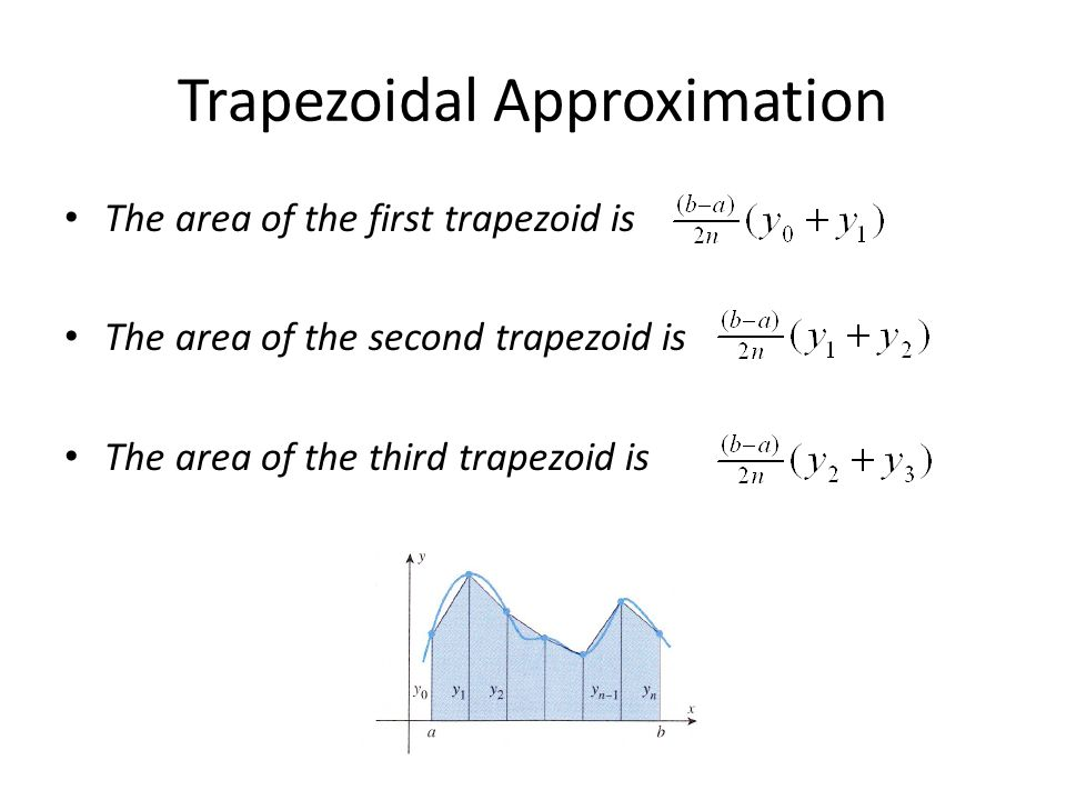 Trapezoidal Approximation The area of the first trapezoid is The area of the second trapezoid is The area of the third trapezoid is