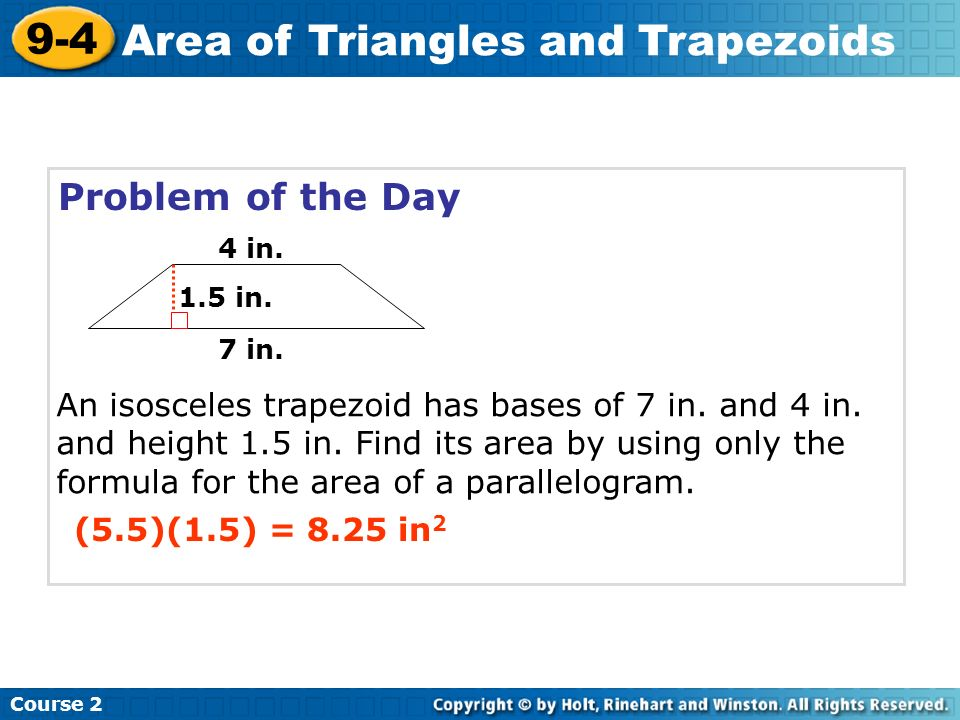 9-4 problem solving area of triangles and trapezoids