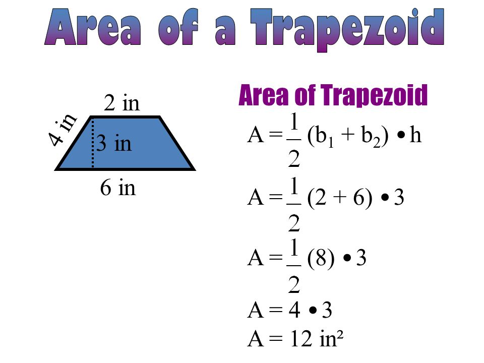 Area of Trapezoids. Given the formula for the area of a ...