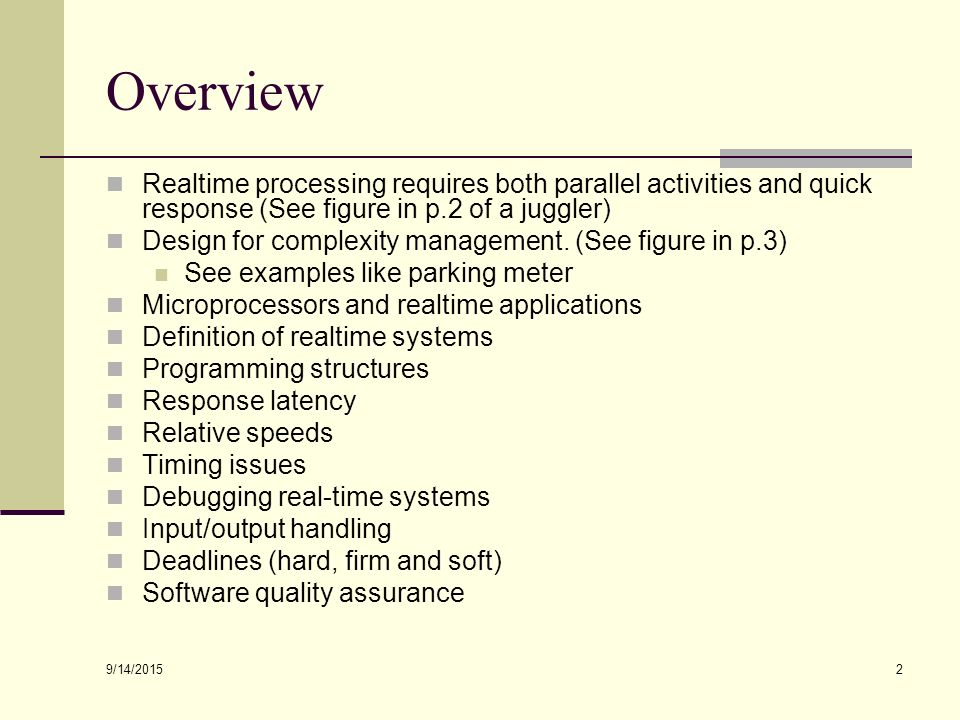 9/14/ Introduction to Realtime Systems Chapter 1 R  Williams' text B