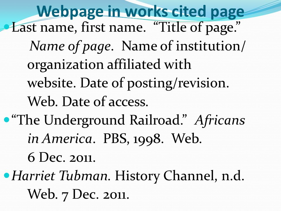 work cited page for website