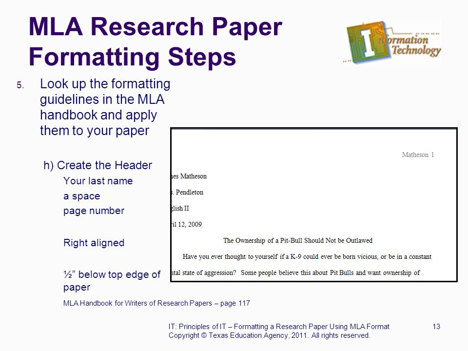 how to format a research paper mla