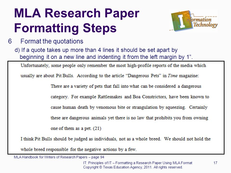 mla research paper formatting steps 6 format the quotations d if a quote takes up