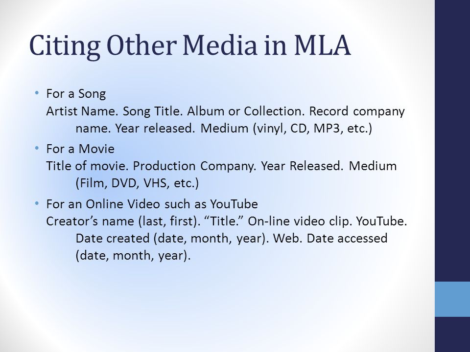 mla format listing items