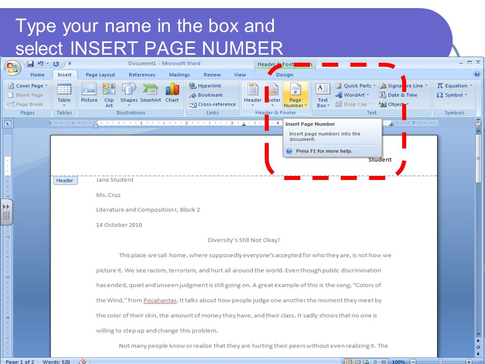 Type your name in the box and select INSERT PAGE NUMBER
