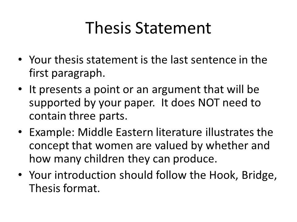 hook bridge thesis examples