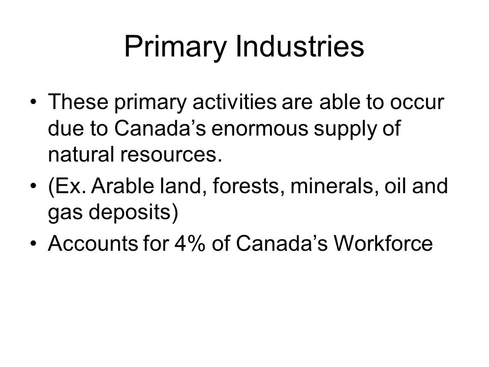 Primary Industries These primary activities are able to occur due to Canada's enormous supply of natural resources.