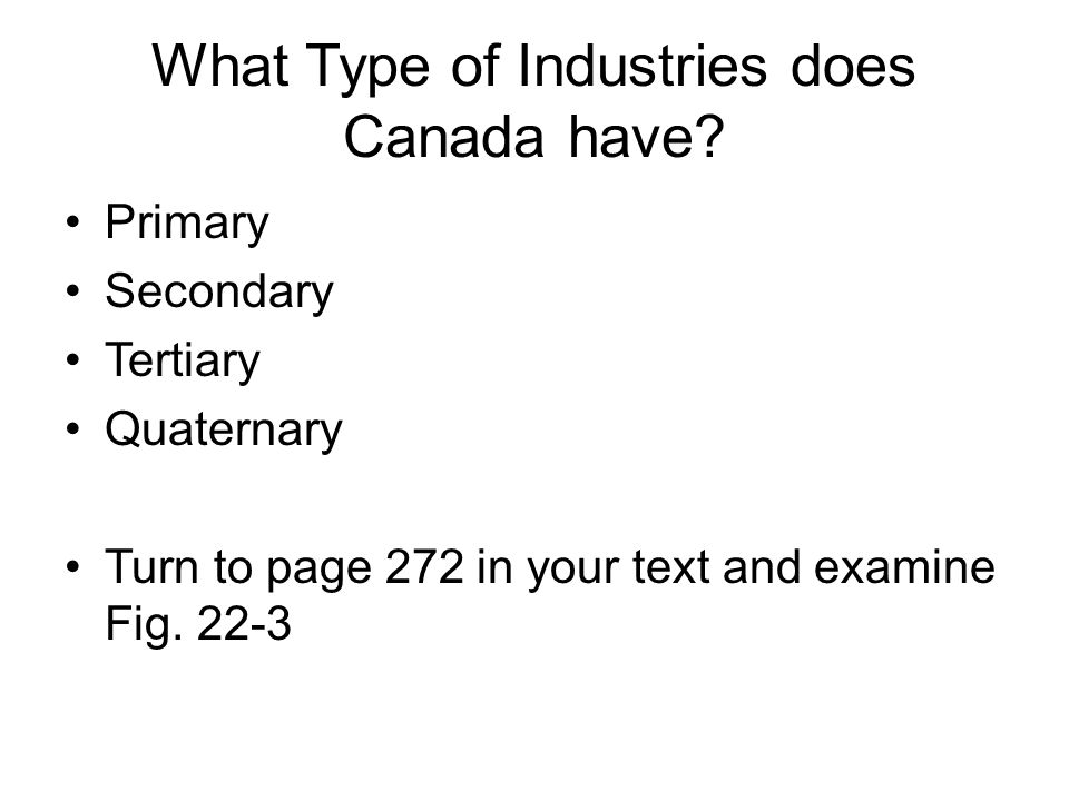 What Type of Industries does Canada have.