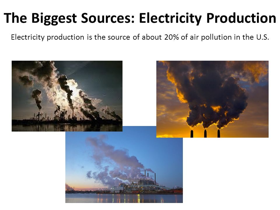 The Biggest Sources: Electricity Production Electricity production is the source of about 20% of air pollution in the U.S.