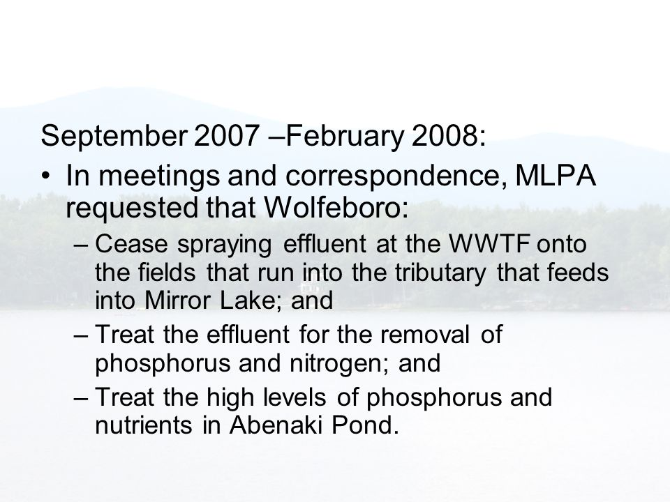 Mirror Lake Protective Association MLPA Part I REVIEW OF WATER
