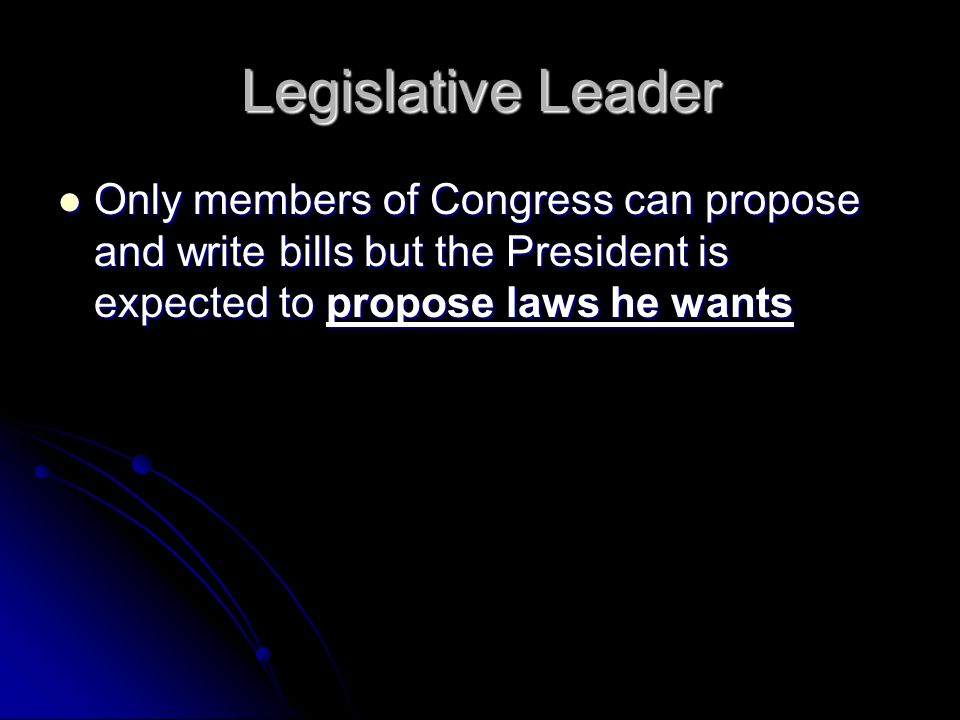 Legislative Leader Only members of Congress can propose and write bills but the President is expected to propose laws he wants Only members of Congress can propose and write bills but the President is expected to propose laws he wants