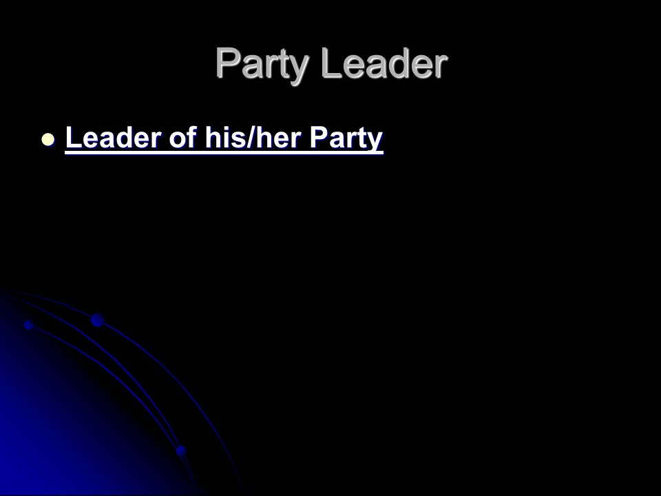 Party Leader Leader of his/her Party Leader of his/her Party