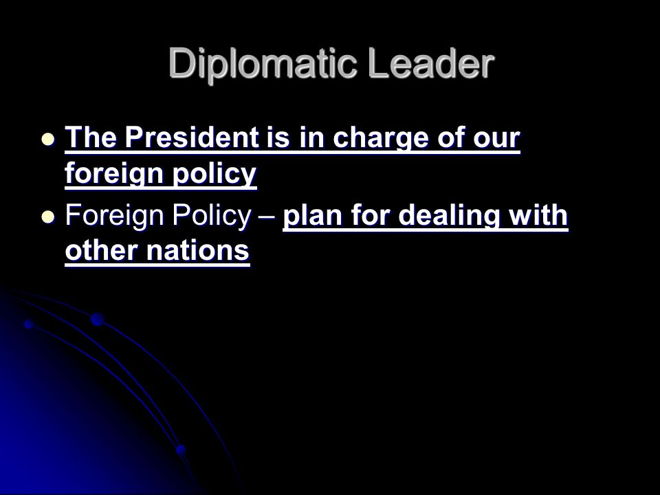 Diplomatic Leader The President is in charge of our foreign policy The President is in charge of our foreign policy Foreign Policy – plan for dealing with other nations Foreign Policy – plan for dealing with other nations