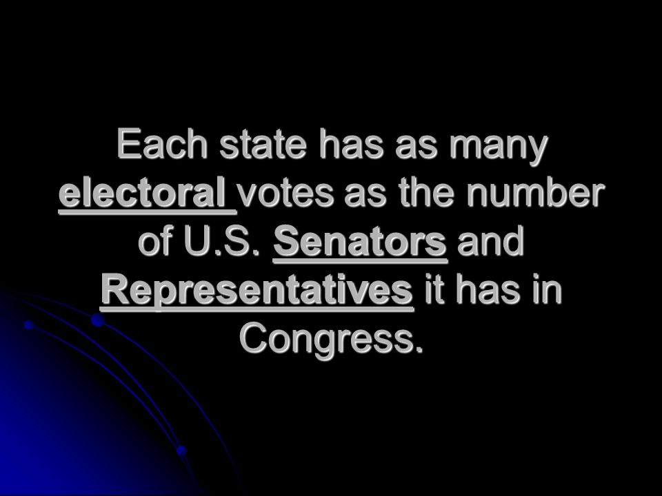 Each state has as many electoral votes as the number of U.S.