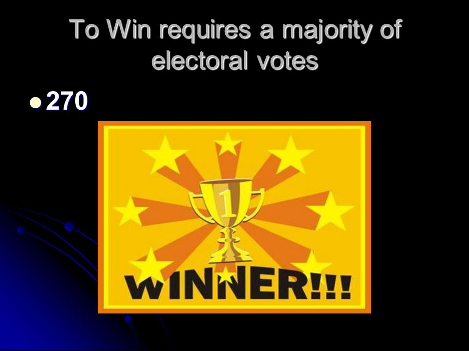 To Win requires a majority of electoral votes