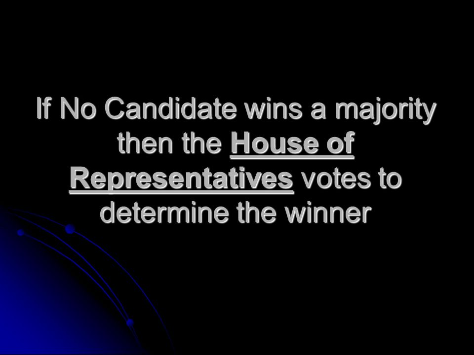 If No Candidate wins a majority then the House of Representatives votes to determine the winner