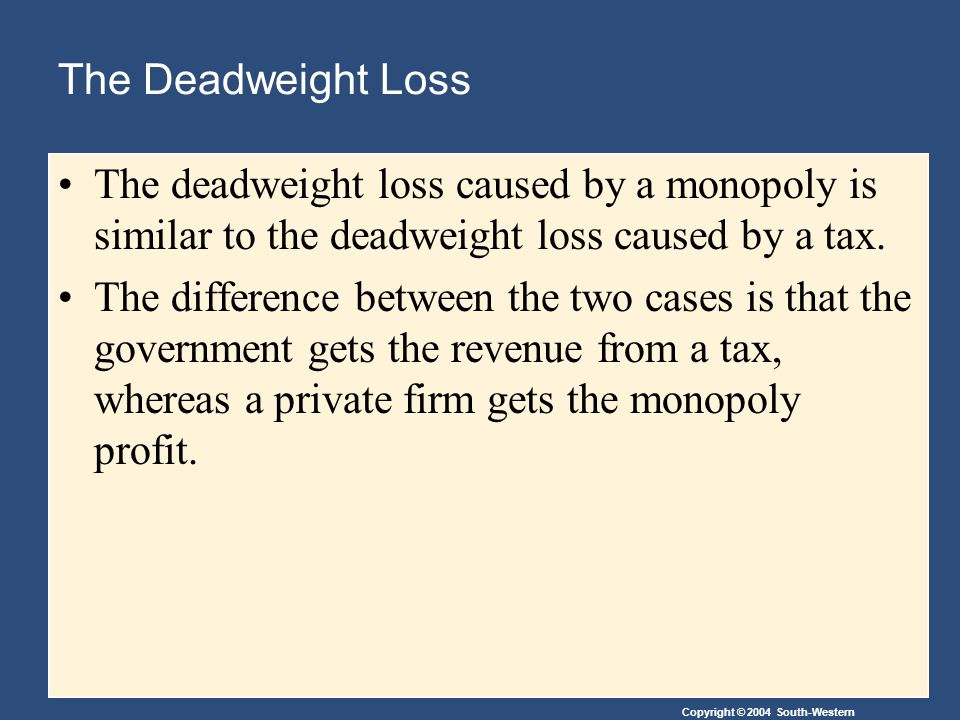 Copyright © 2004 South-Western The Deadweight Loss The deadweight loss caused by a monopoly is similar to the deadweight loss caused by a tax.