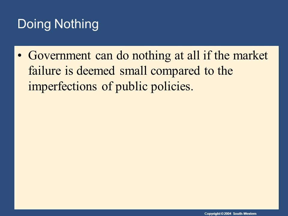 Copyright © 2004 South-Western Doing Nothing Government can do nothing at all if the market failure is deemed small compared to the imperfections of public policies.