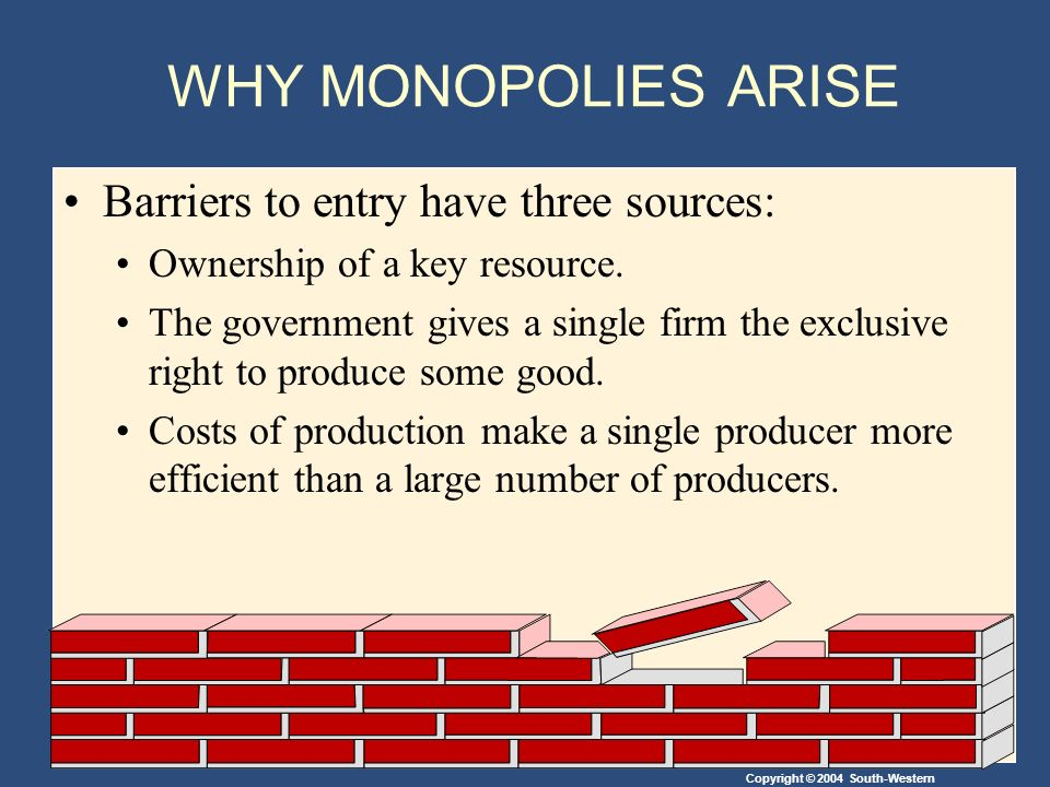 Copyright © 2004 South-Western WHY MONOPOLIES ARISE Barriers to entry have three sources: Ownership of a key resource.