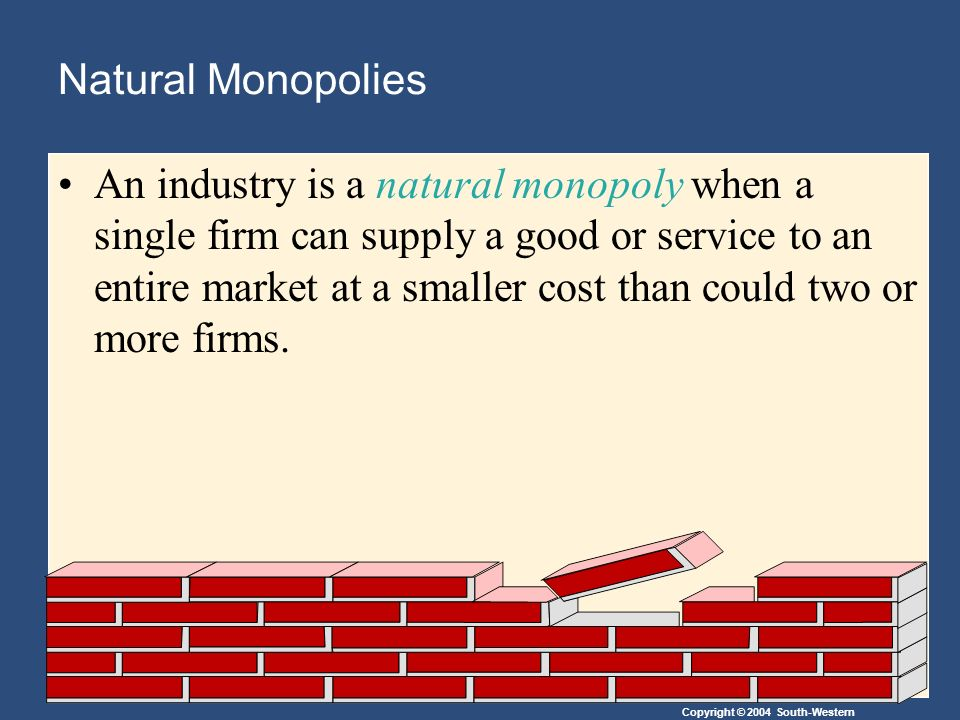 Copyright © 2004 South-Western Natural Monopolies An industry is a natural monopoly when a single firm can supply a good or service to an entire market at a smaller cost than could two or more firms.