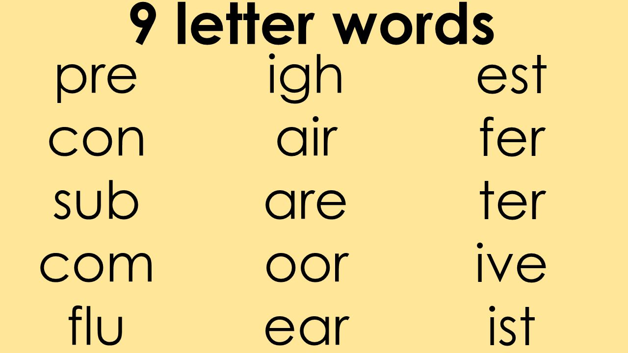 83 9 Letter Words Est Fer Ter Ive Ist Pre Con Sub Com Flu Igh Air Are Oor Ear