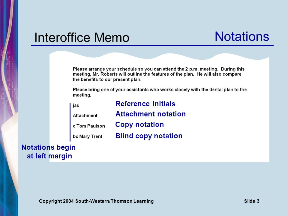 Copyright 2004 South-Western/Thomson LearningSlide 3 Interoffice Memo Reference initials Notations Attachment notation Copy notation Blind copy notation Notations begin at left margin