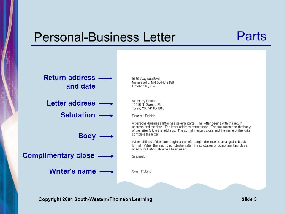 Copyright 2004 South-Western/Thomson LearningSlide 5 Personal-Business Letter Parts Return address and date Letter address Salutation Body Complimentary close Writer s name