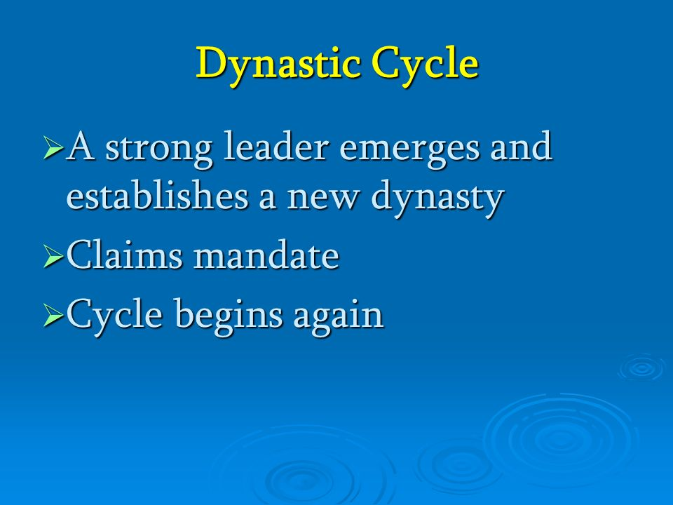 Dynastic Cycle AAAA strong leader emerges and establishes a new dynasty CCCClaims mandate CCCCycle begins again
