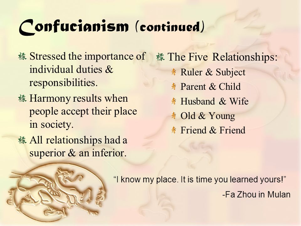 Confucianism (continued) Stressed the importance of individual duties & responsibilities.