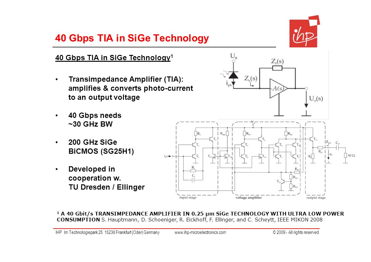 Ihp Im Technologiepark Frankfurt Oder Germany All Rights The Transimpedance Amplifier Circuit 19