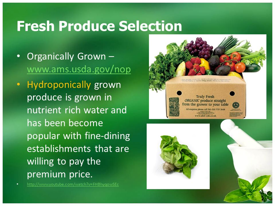 Fresh Produce Chapter 4  Fresh Produce Selection Factors Intended