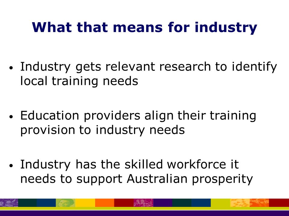 What that means for industry Industry gets relevant research to identify local training needs Education providers align their training provision to industry needs Industry has the skilled workforce it needs to support Australian prosperity