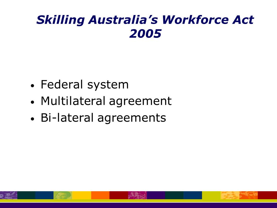 Federal system Multilateral agreement Bi-lateral agreements Skilling Australia's Workforce Act 2005