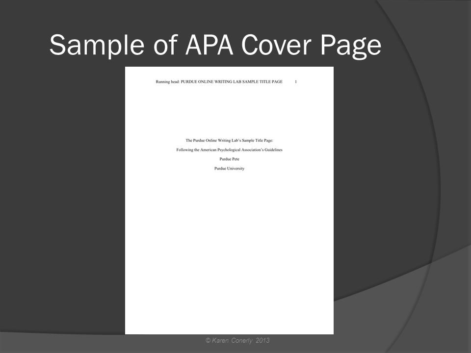 Sample of APA Cover Page © Karen Conerly 2013