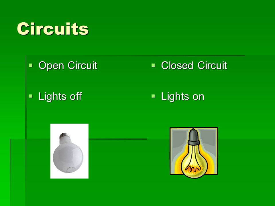 Circuits  Open Circuit  Lights off  Closed Circuit  Lights on