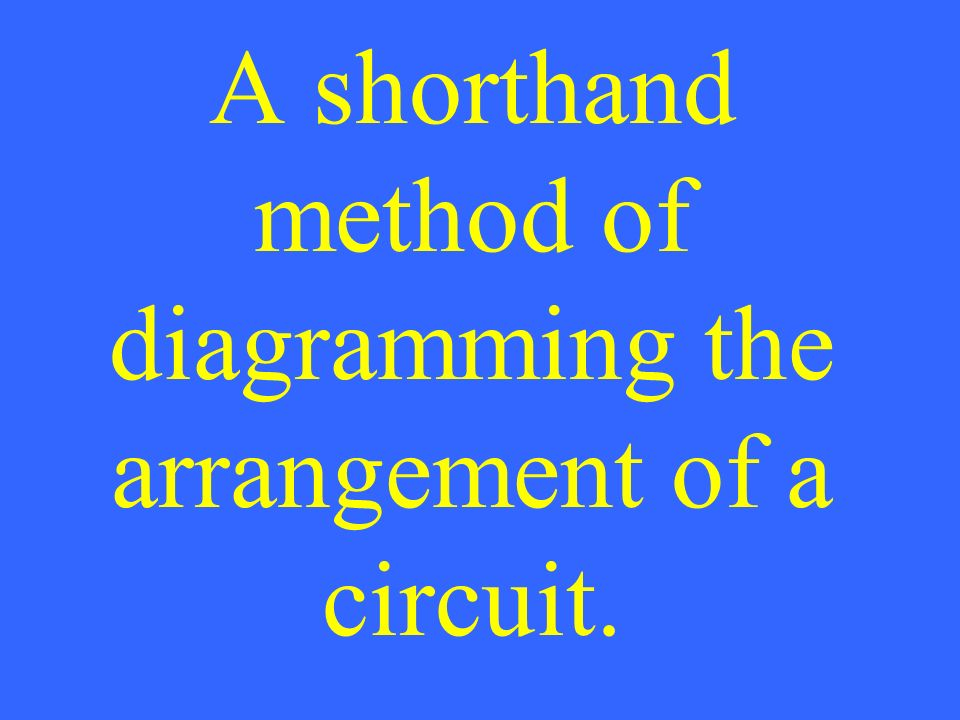 A shorthand method of diagramming the arrangement of a circuit.