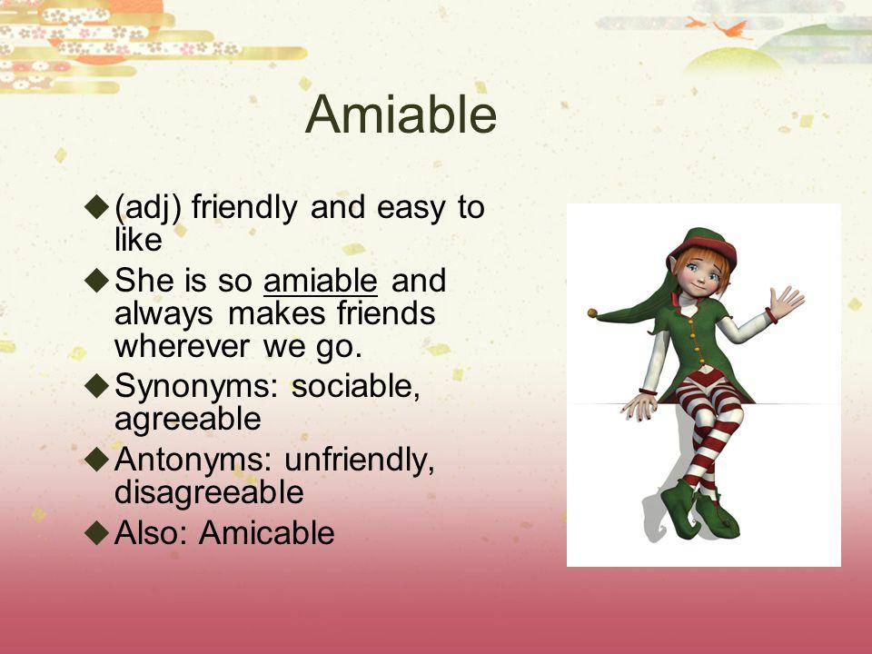 Middle School SAT Vocabulary List 6  List 6 Words  Amiable