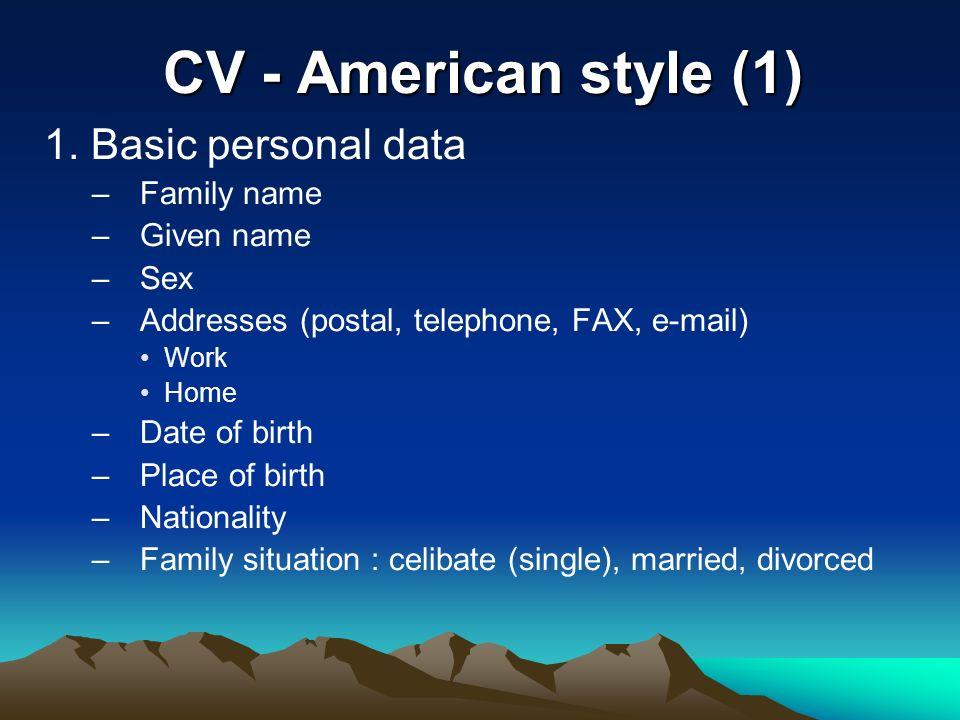 writing a curriculum vitae cv american style 1 1 basic