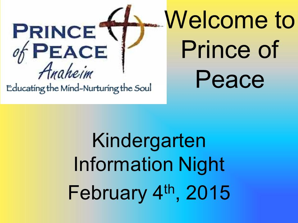 Prince of Peace Kindergarten. Welcome to Prince of Peace ...
