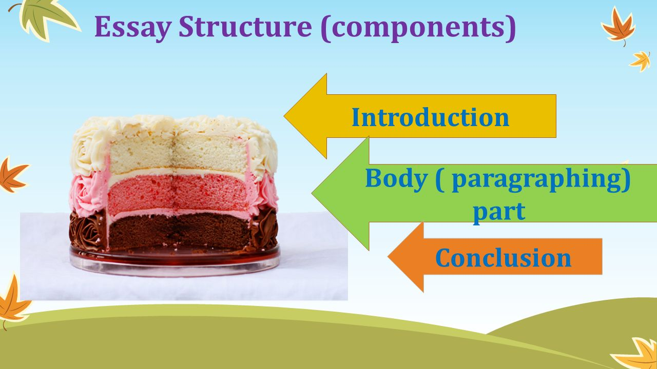 Essay Structure (components) Introduction Body ( paragraphing) part Conclusion
