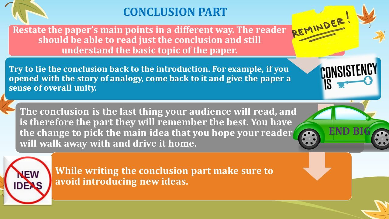 Two Content Layout with Table CONCLUSION PART Restate the paper's main points in a different way.