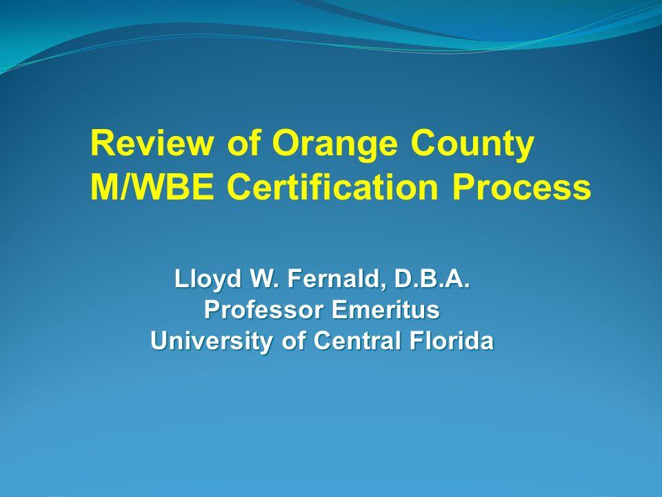 Lloyd W Fernald Dba Professor Emeritus University Of Central