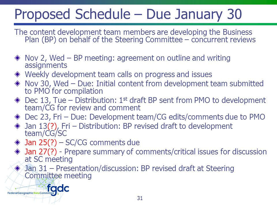 Proposed Schedule – Due January 30 The content development team members are developing the Business Plan (BP) on behalf of the Steering Committee – concurrent reviews Nov 2, Wed – BP meeting: agreement on outline and writing assignments Weekly development team calls on progress and issues Nov 30, Wed – Due: Initial content from development team submitted to PMO for compilation Dec 13, Tue – Distribution: 1 st draft BP sent from PMO to development team/CG for review and comment Dec 23, Fri – Due: Development team/CG edits/comments due to PMO Jan 13( ), Fri – Distribution: BP revised draft to development team/CG/SC Jan 25( ) – SC/CG comments due Jan 27( ) - Prepare summary of comments/critical issues for discussion at SC meeting Jan 31 – Presentation/discussion: BP revised draft at Steering Committee meeting 31