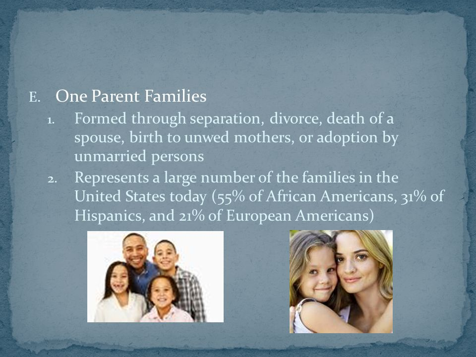 E. One Parent Families 1.
