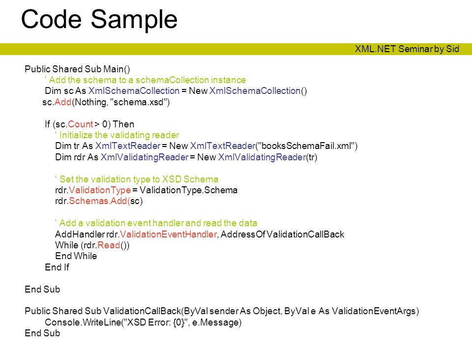 Xmlvalidatingreader example c# coding