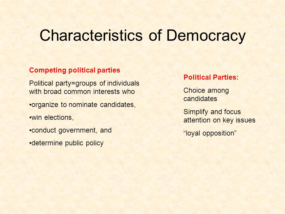 Characteristics of Democracy Competing political parties Political party=groups of individuals with broad common interests who organize to nominate candidates, win elections, conduct government, and determine public policy Political Parties: Choice among candidates Simplify and focus attention on key issues loyal opposition