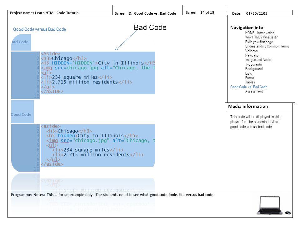 Basic HTML e-Learning Tutorial Storyboard Linda Sauerbrun AET/545 ...