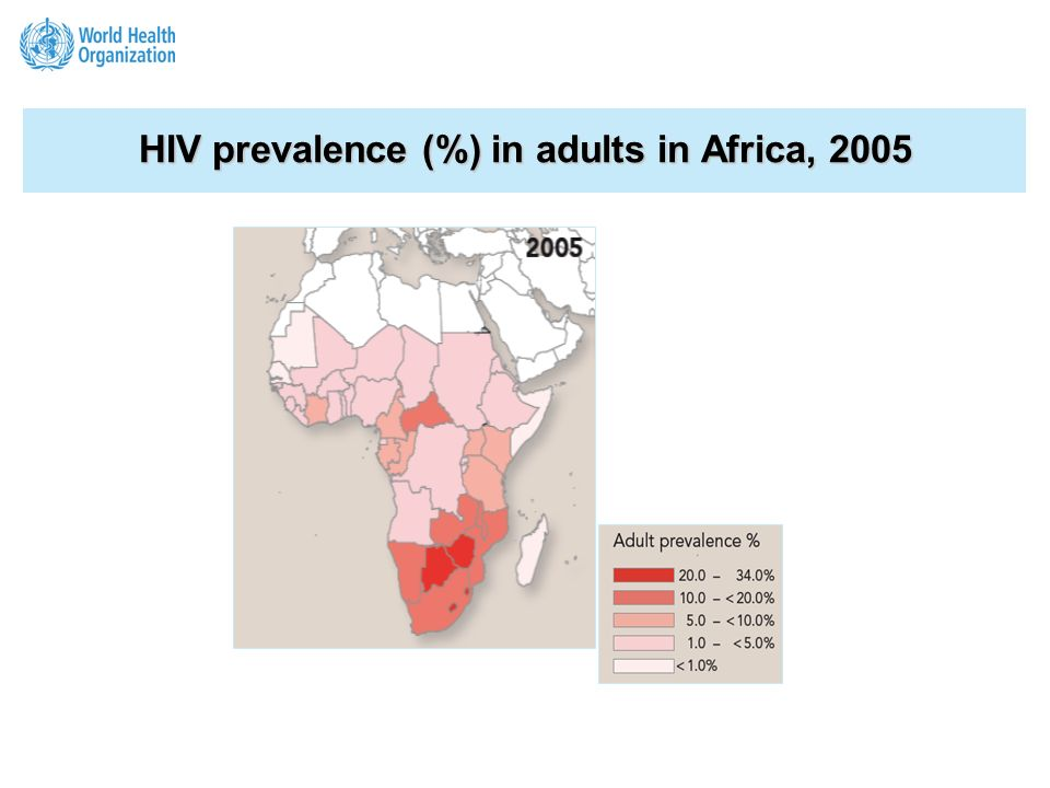 HIV prevalence (%) in adults in Africa,