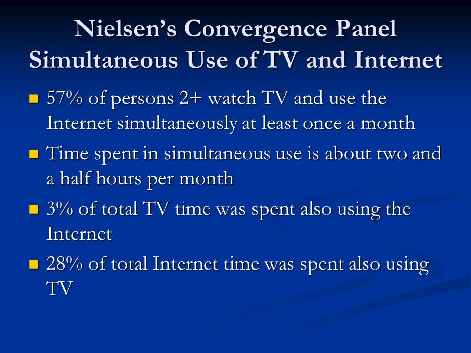 Nielsen's Convergence Panel Simultaneous Use of TV and Internet 57% of persons 2+ watch TV and use the Internet simultaneously at least once a month 57% of persons 2+ watch TV and use the Internet simultaneously at least once a month Time spent in simultaneous use is about two and a half hours per month Time spent in simultaneous use is about two and a half hours per month 3% of total TV time was spent also using the Internet 3% of total TV time was spent also using the Internet 28% of total Internet time was spent also using TV 28% of total Internet time was spent also using TV